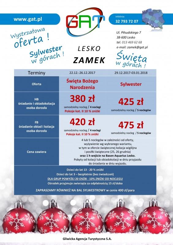 GAT Zamek Lesko Oferta Swieta iSylwester 2017
