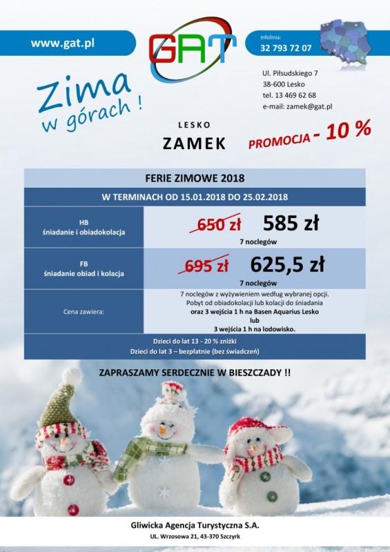 Oferta Ferie Zimowe 2018 Zamek Lesko Gat_Rabat 10